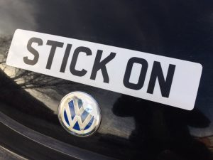 stick on numberplate