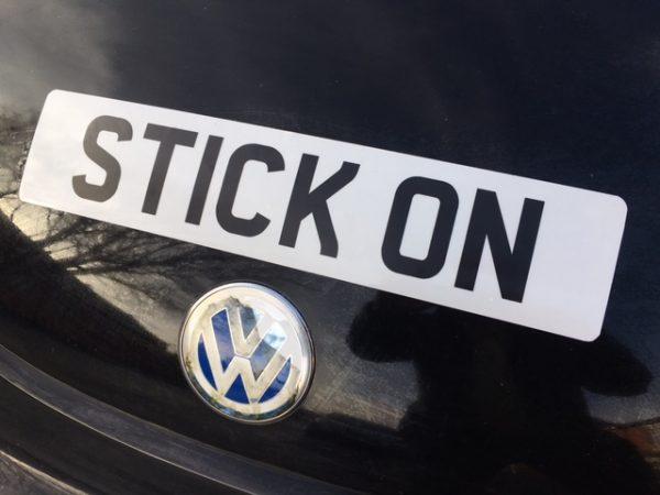 stick on numberplate