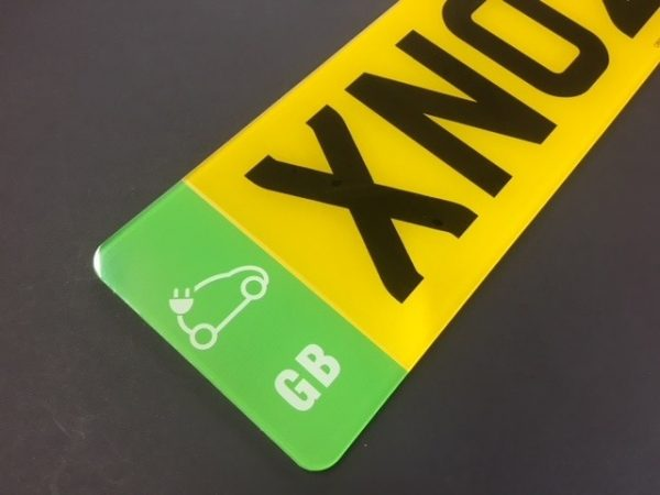 Stick on vinyl numberplate with green EV Electric Vehicle badge